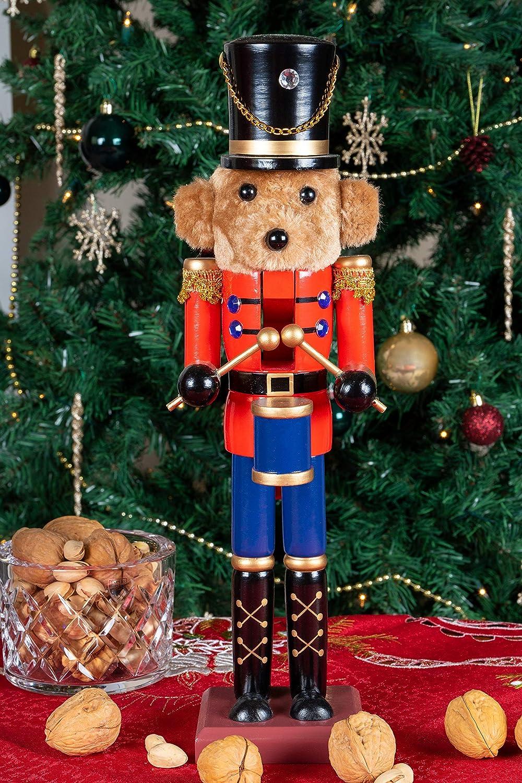 perfekt f/ür Regale /& Tische 38,1 cm Clever Creations Nussknacker als Trommler-Teddyb/är Holz Festliche Weihnachtsdeko mit roter Jacke /& Blauer Hose