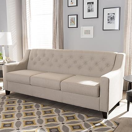 Sensational Amazon Com Baxton Studio Arcadia Upholstered Sofa In Light Download Free Architecture Designs Ogrambritishbridgeorg