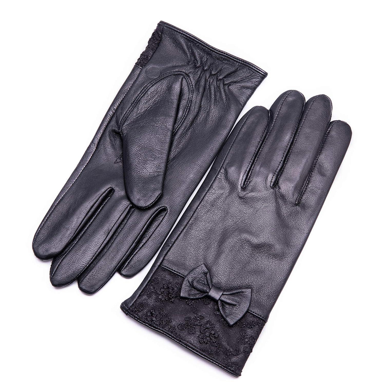 Damen-Lederhandschuhe Gefütterte Handschuhe echtes Leder Nappaleder mod.65