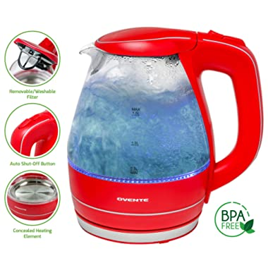 Ovente 1.5L BPA-Free Glass Electric Kettle, Fast Heating with Auto Shut-Off and Boil-Dry Protection, Cordless, LED Light Indicator, Red (KG83R)