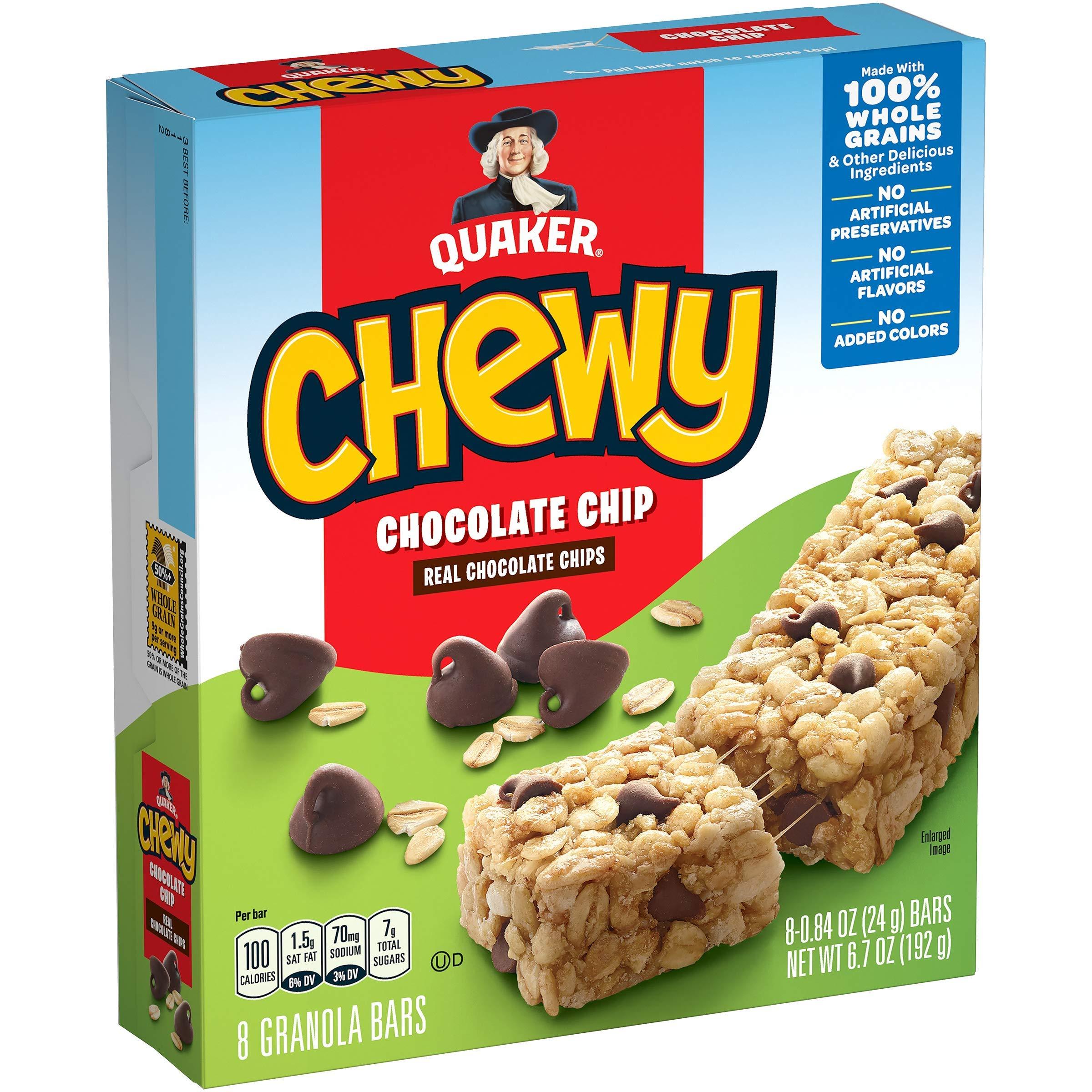 Quaker Chewy Granola Bar Chocolate Chip Granola Bars, .84oz bars 8 count, 6.72oz