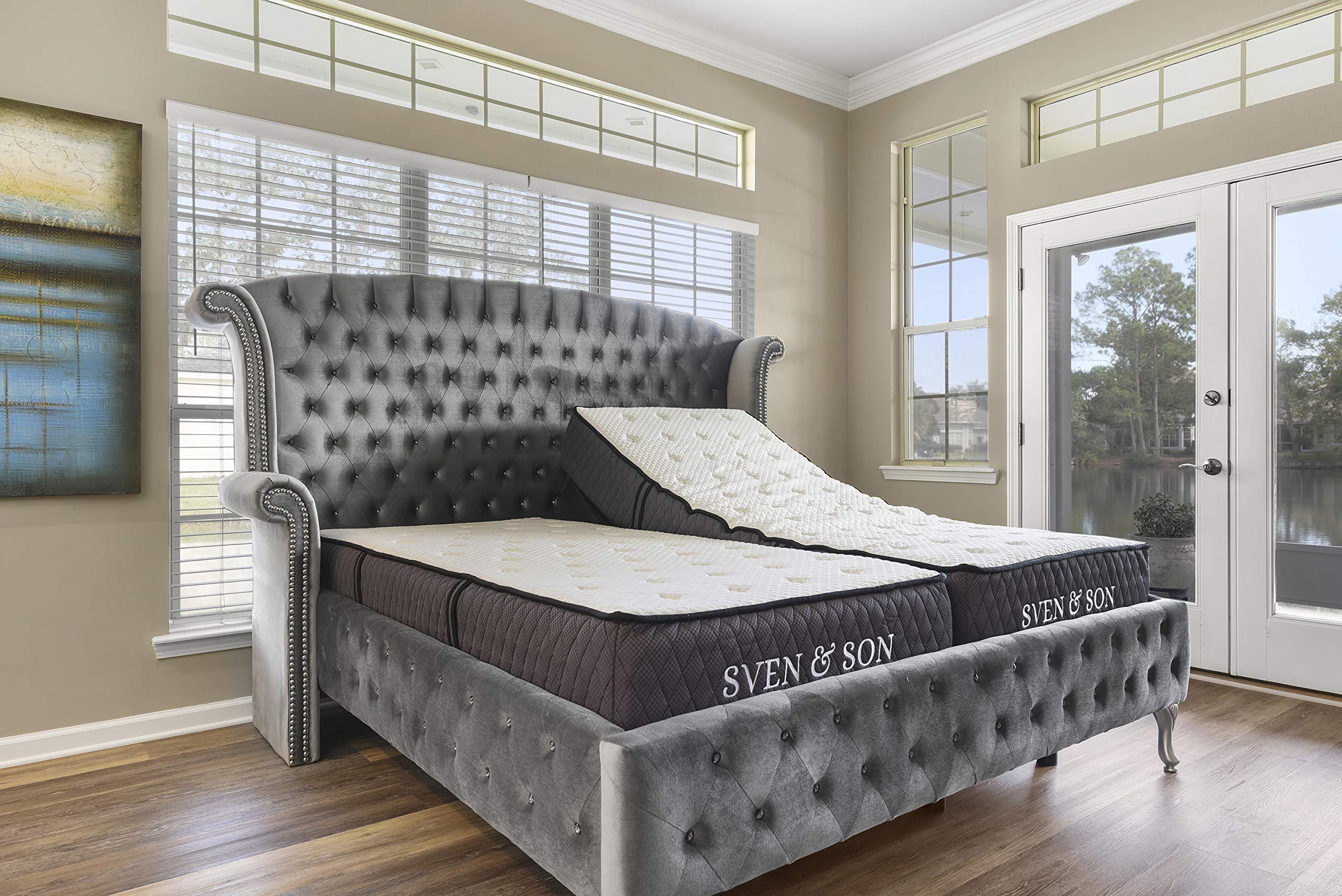 "Split King Adjustable Bed Frame Base + 12"" Luxury Cool Gel Memory Foam Mattress, Head Up Foot Up, USB Ports, Zero Gravity, Interactive Dual Massage, Wireless, Classic by Sven & Son (Split King)"