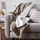 Amazon Basics Ultra-Soft Micromink Sherpa Blanket - Throw, Taupe