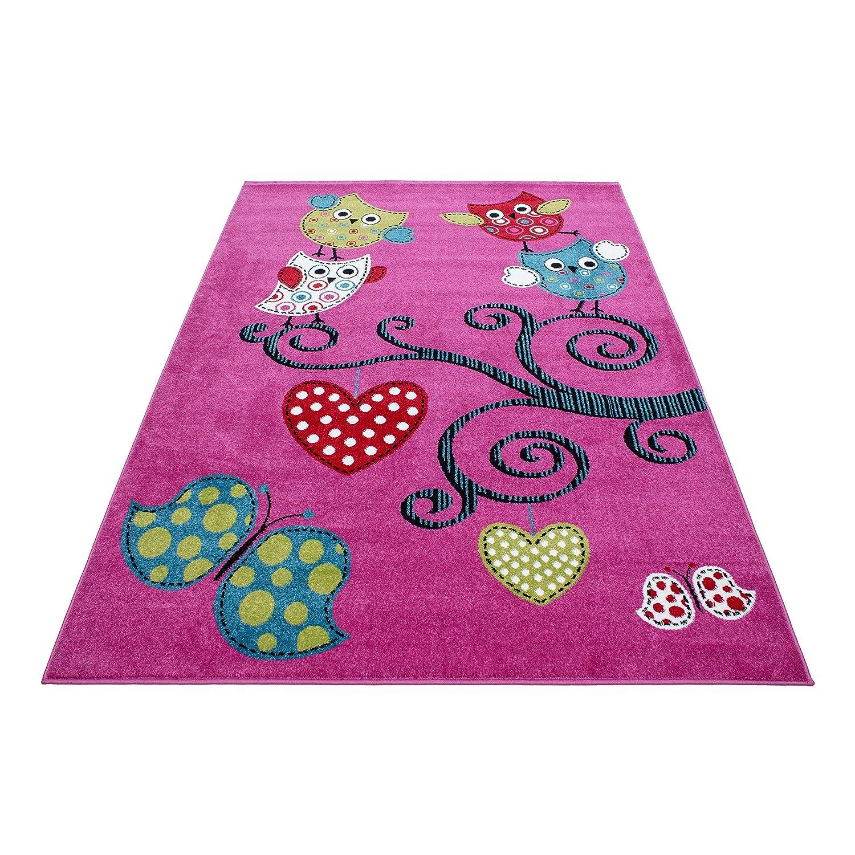 Kinderteppich Rechteckig Kurzflor Pflegeleicht Eule am Herz Kinderzimmer Lila, Farbe Lila, Maße 160x230 cm