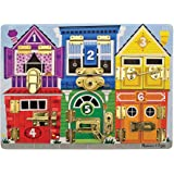 Melissa & Doug Wooden Latches Board (Developmental Toy, Sturdy Wooden Construction, Helps Develop Fine Motor Skills, 39.37 cm H x 29.21 cm W x 3.175 cm L)
