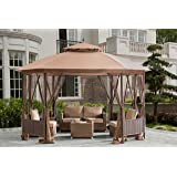 Sunjoy Octagonal Patio Softtop Gazebo with Netting,Wicker Pannels,Brown
