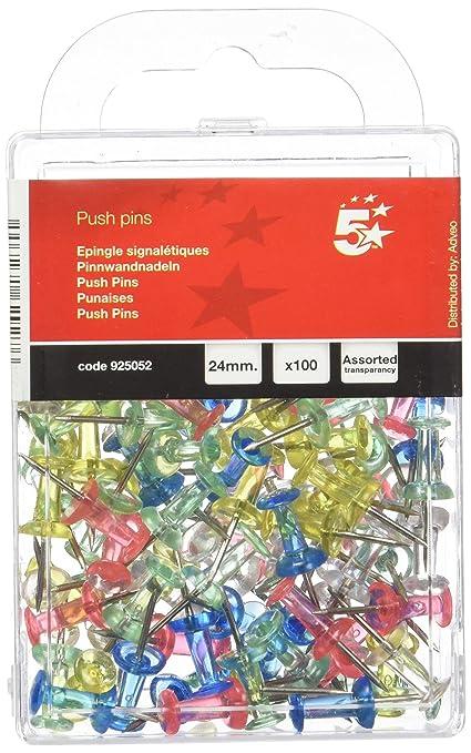 7 opinioni per 5 Star 925052 Push Pins Assortite, Confezione da 100 Pezzi