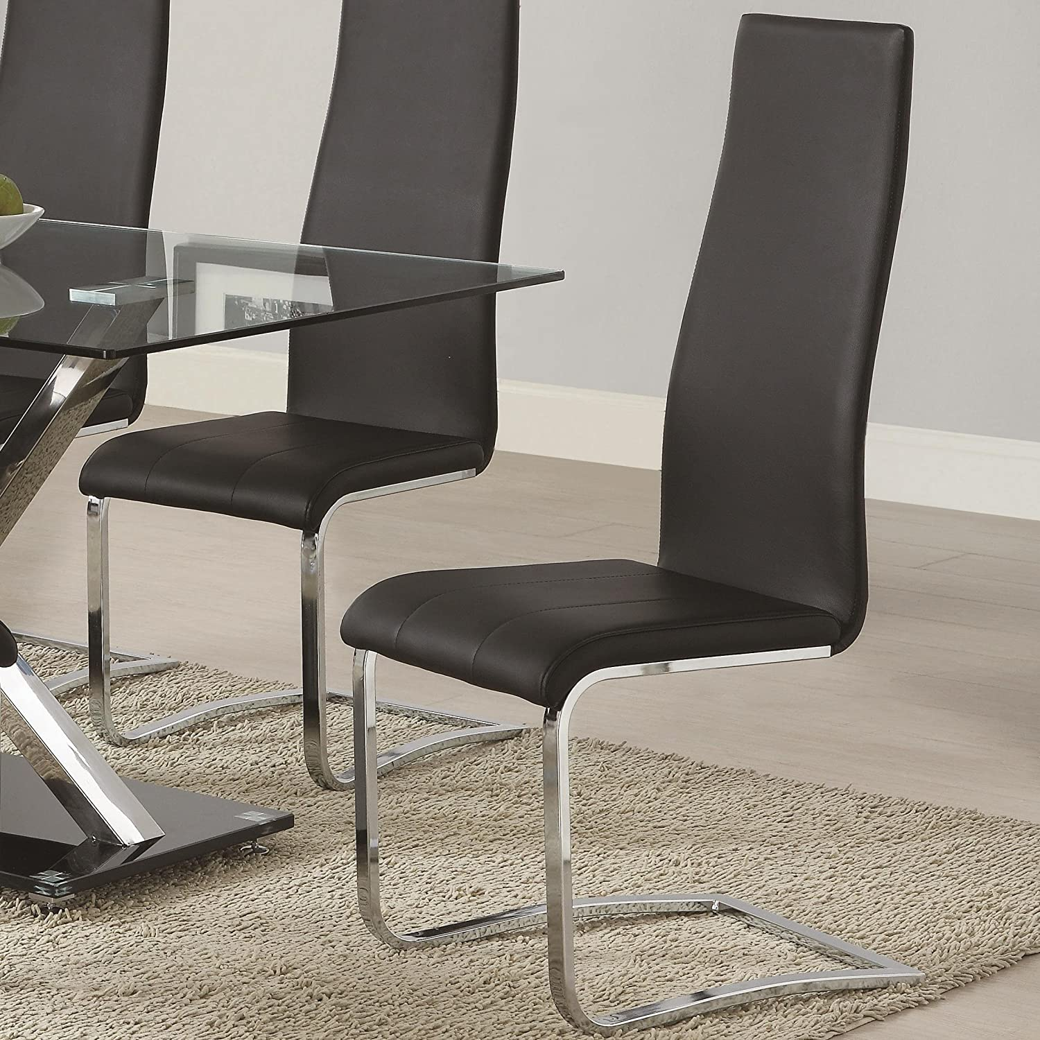Amazoncom Coaster BLK Dining Chair Black Faux Leather - Contemporary wooden dining chairs