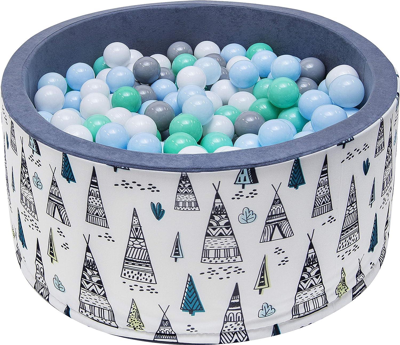 Anthrazit mit blauen B/ällen Rainbow Kids Luxus B/ällebad mit 200 B/ällen /Ø 7cm mit Druck B/ällepool Baby B/älle Spielb/älle Spielbad Kugelbad B/ällchenpool Zertifiziert 90x40cm