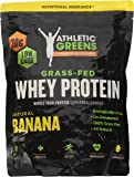 Athletic Greens Grass-Fed Whey Protein, Natural Banana - Deliciously Smooth Protein Shake, 100% Grass-Fed (No Hormones, Certified No GMOs), 20g of Protein Per Serving, 583 grams