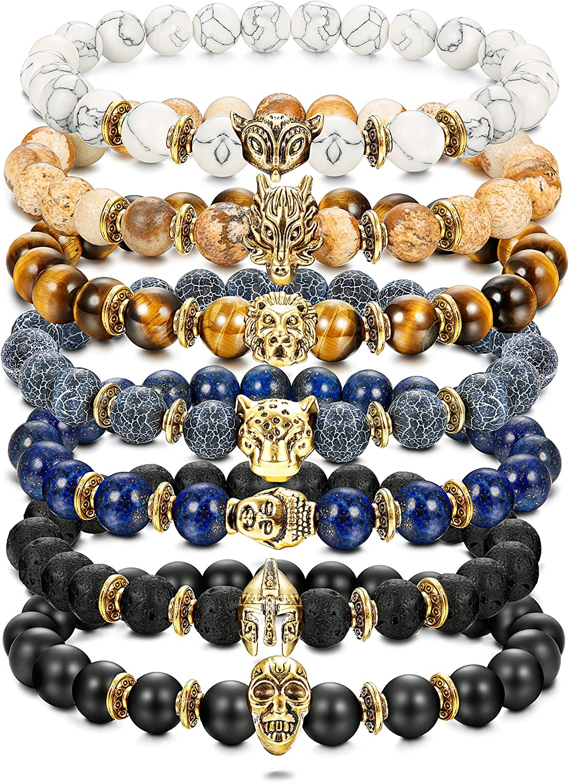 Milacolato7PCS Tigre//Lion//Dragon//Panth/ère//Renard//Cr/âne//Solider Charme Lava Onyx Bracelet Hommes Femmes 8MM
