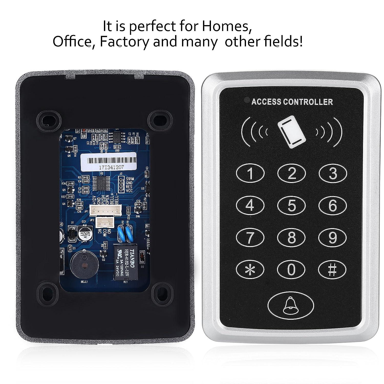 Clavier RFID de contr/ôle dacc/ès kit de syst/ème de contr/ôleur de Porte de Carte avec 10 RFID Keyfobs