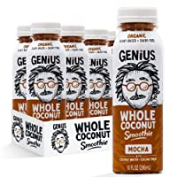 Genius Juice Organic Coconut Smoothie: Delicious Blended Whole Coconut Meat + Coconut Water - Creamy, Filling Meal Replacement - MCTs, Paleo, Vegan, Non-GMO - Mocha 6 Pack