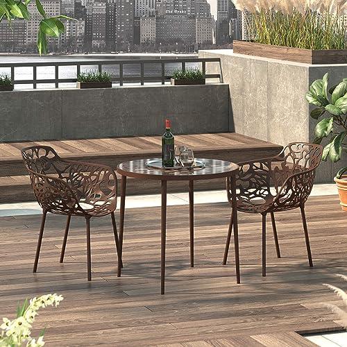 LeisureMod Devon Modern Aluminum Indoor-Outdoor Stackable Side Dining Arm Chair, Set of 2 Brown