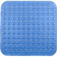 Brandsseller - Alfombrilla de Ducha 53 x 53 cm Antideslizante con Ventusa Azul Transparente