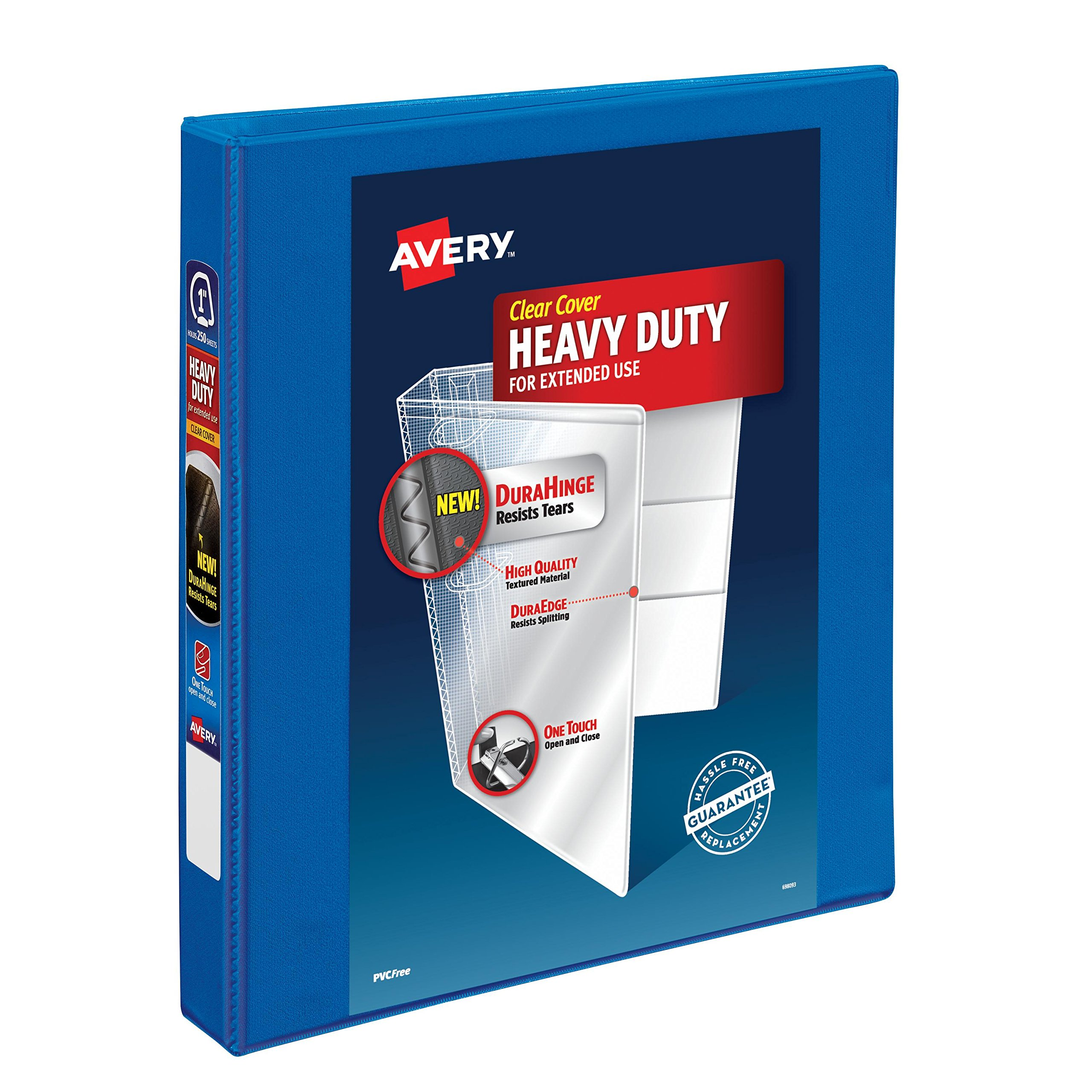 Avery Heavy-Duty View Binder, 1'' One Touch Slant Rings, 220-Sheet Capacity, DuraHinge, Blue (79720)