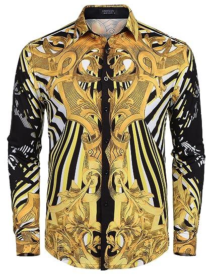 JINIDU Mens Long Sleeve Luxury Print Dress Shirt Graphic Button Down Shirt