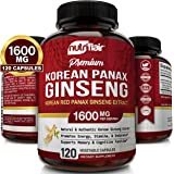 NutriFlair Korean Red Panax Ginseng 1600mg - 120 Vegan Capsules - High Strength Ginseng Root Ginsenosides Extract Powder Supp