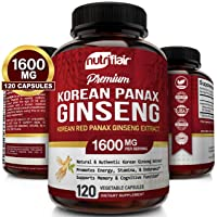 NutriFlair Korean Red Panax Ginseng 1600mg - 120 Vegan Capsules - High Strength...