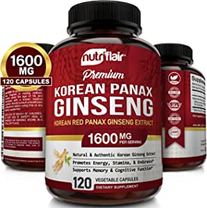NutriFlair Korean Red Panax Ginseng 1500mg - 120 Vegan Capsules - High Strength Ginseng Root Ginsenosides Extract Powder Supplement - Energy, Focus, Libido, Performance Pills for Women & Men, Non-GMO