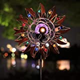 HDNICEZM Solar Wind Spinner Multi-Color LED Lighting by Solar Powered Glass Ball with Kinetic Wind Aculptures Dual Direction