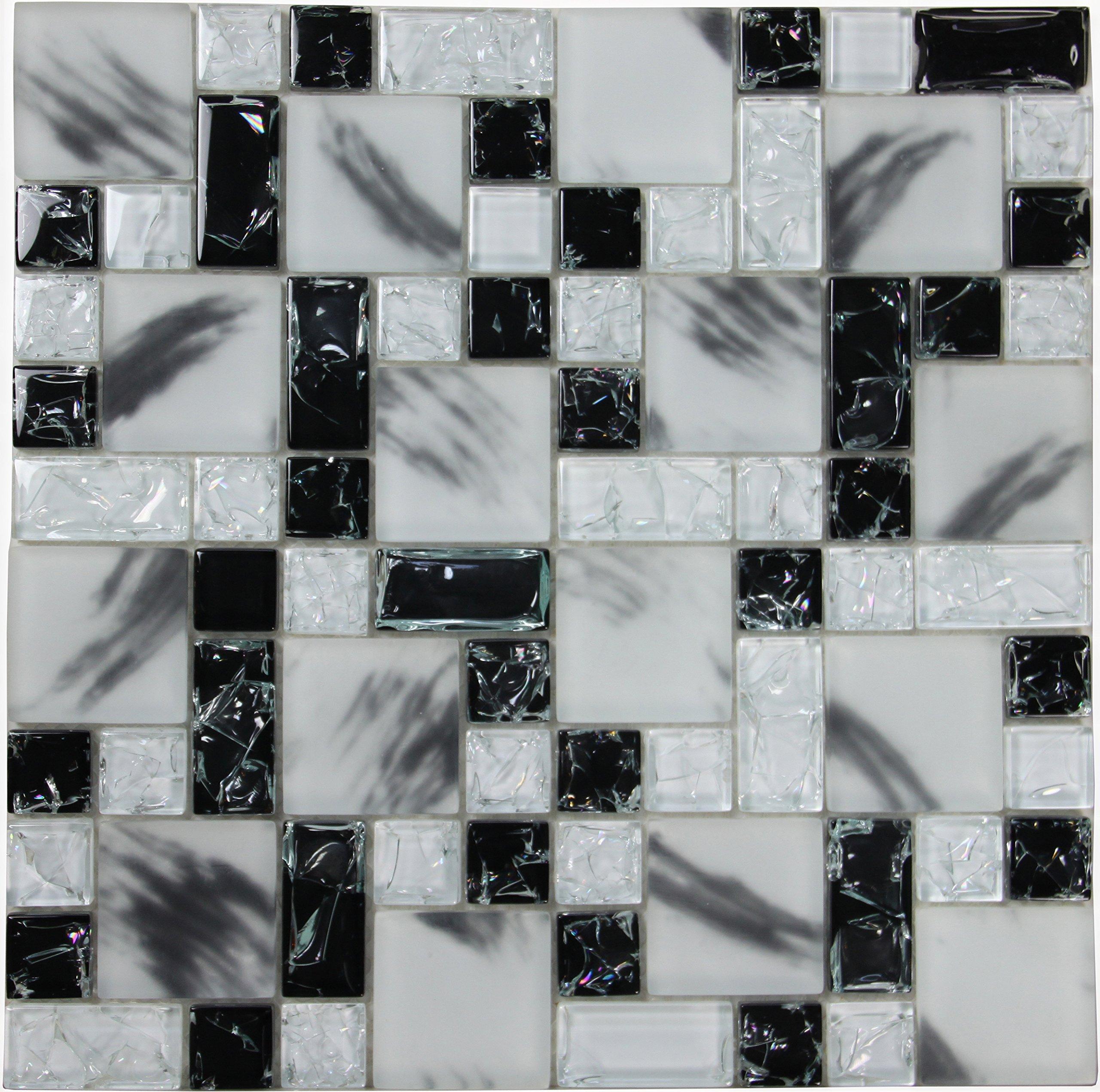 Crackle Albescent (GP07) Black White Glass Backsplash Mosaic Tile for Kitchen Bathroom Wall (1 Box / 11 Sheets)