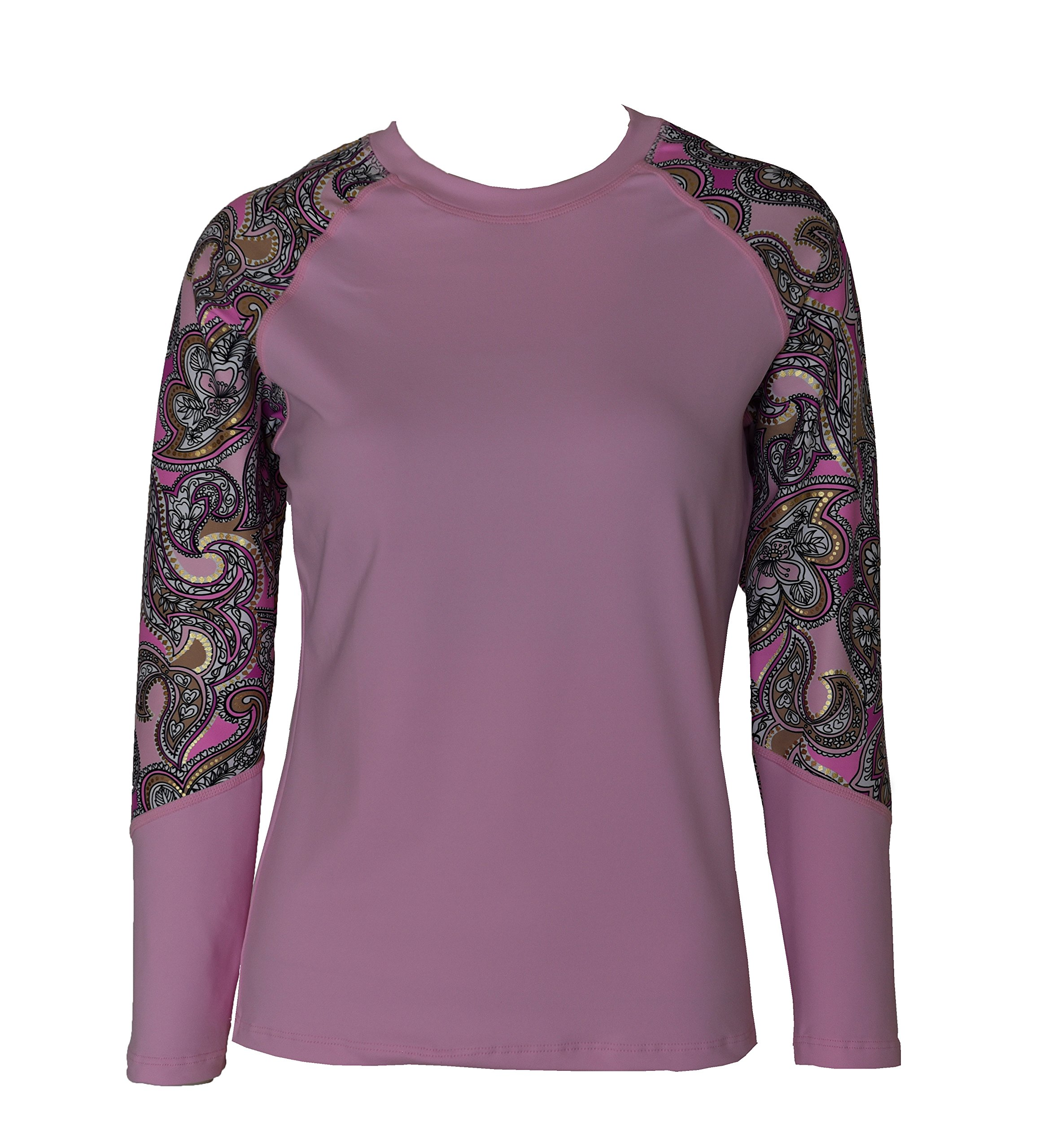 Private Island Hawaii Women UV Wetsuits Long Raglan Sleeve Rash Guard Top Pink with Pink Gold Spot XX-Large
