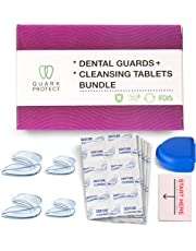 Mouth Guard for Grinding Teeth and Denture Cleaning Tablets Bundle by Quark Protect - The Night Guards Help with Bruxism and Teeth Clenching, 4 Guards in 2 Sizes. Bundled with 30 effervescent Tablets