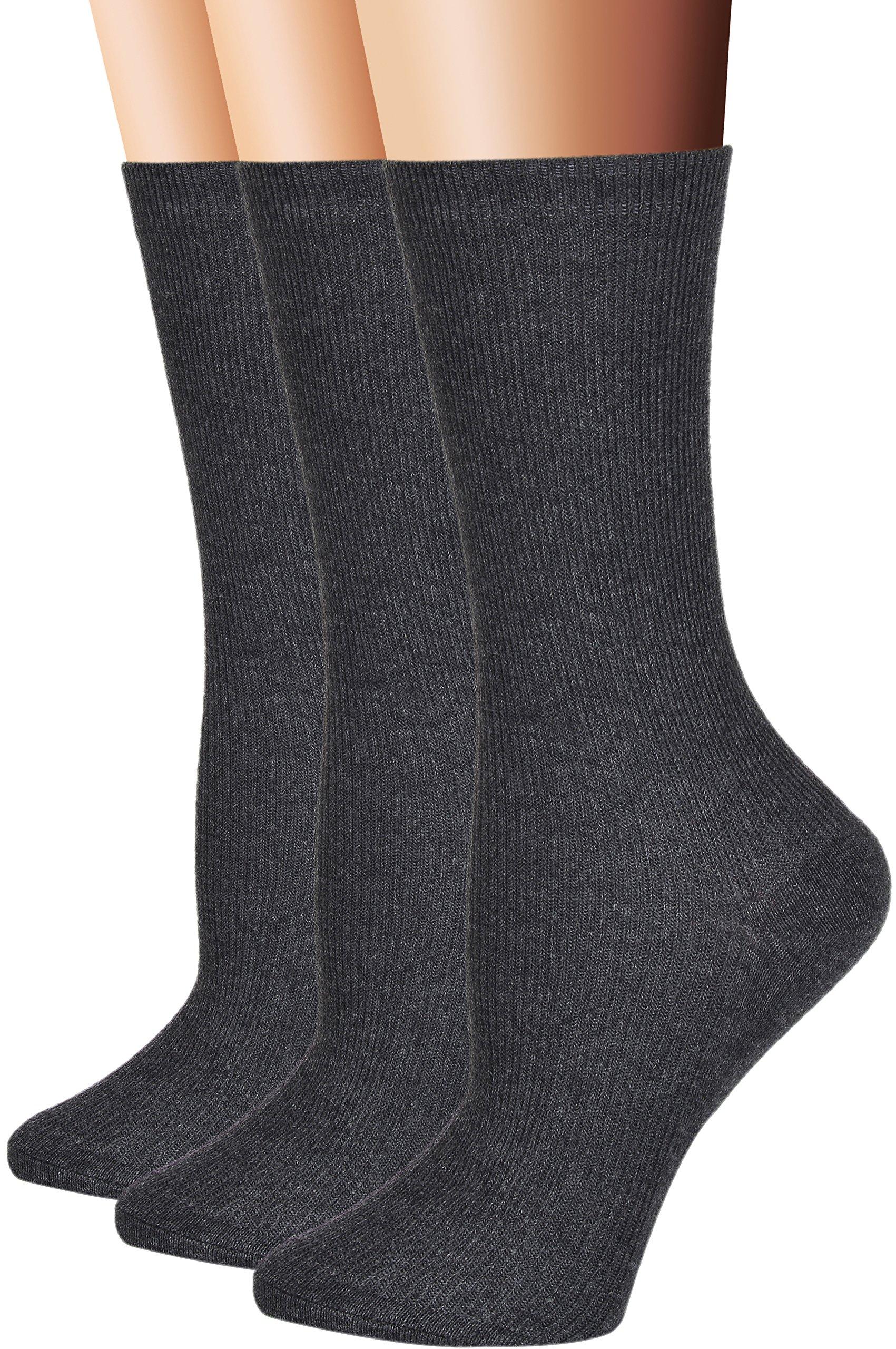 Flora&Fred Women's 3 Pair Pack Cotton Crew Socks Deep Gray