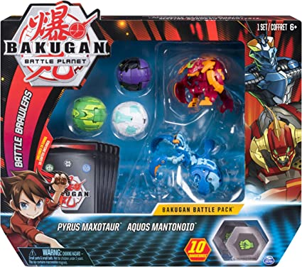 Collectible Bakugan Pyrus Maxotaur and Aquos Mantonoid Battle Pack 5-Pack
