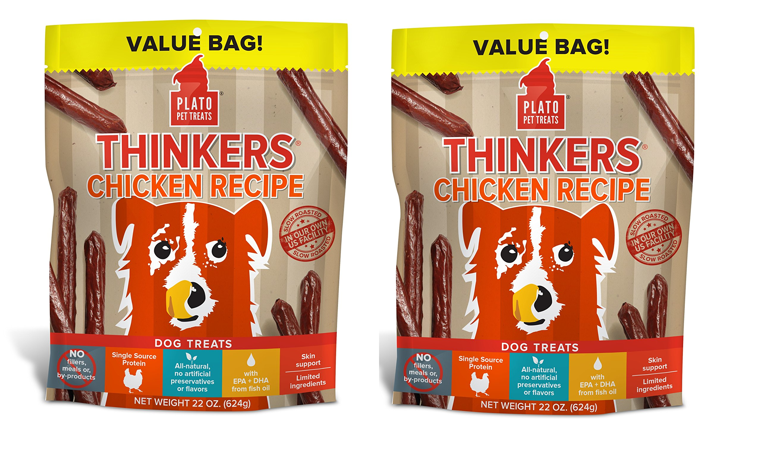 PLATO Dog Treats -Thinkers Chicken Sticks-22 oz (2 Pack)