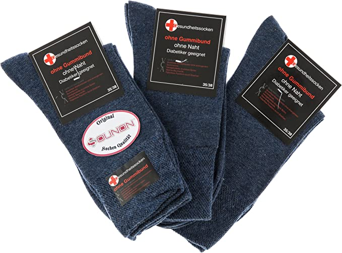 Diabetiker Söckchen ohne Gummi Baumwolle Damen 6er Pack handgekettelt blau