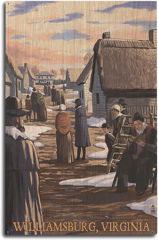 Lantern Press Williamsburg, Virginia - Colonial Scene (10x15 Wood Wall Sign, Wall Decor Ready to Hang)