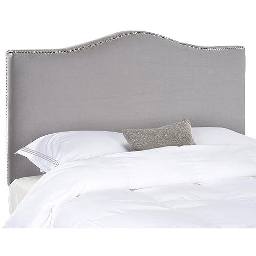 Safavieh Jeneve Arctic Grey Upholstered Headboard – Silver Nailhead King