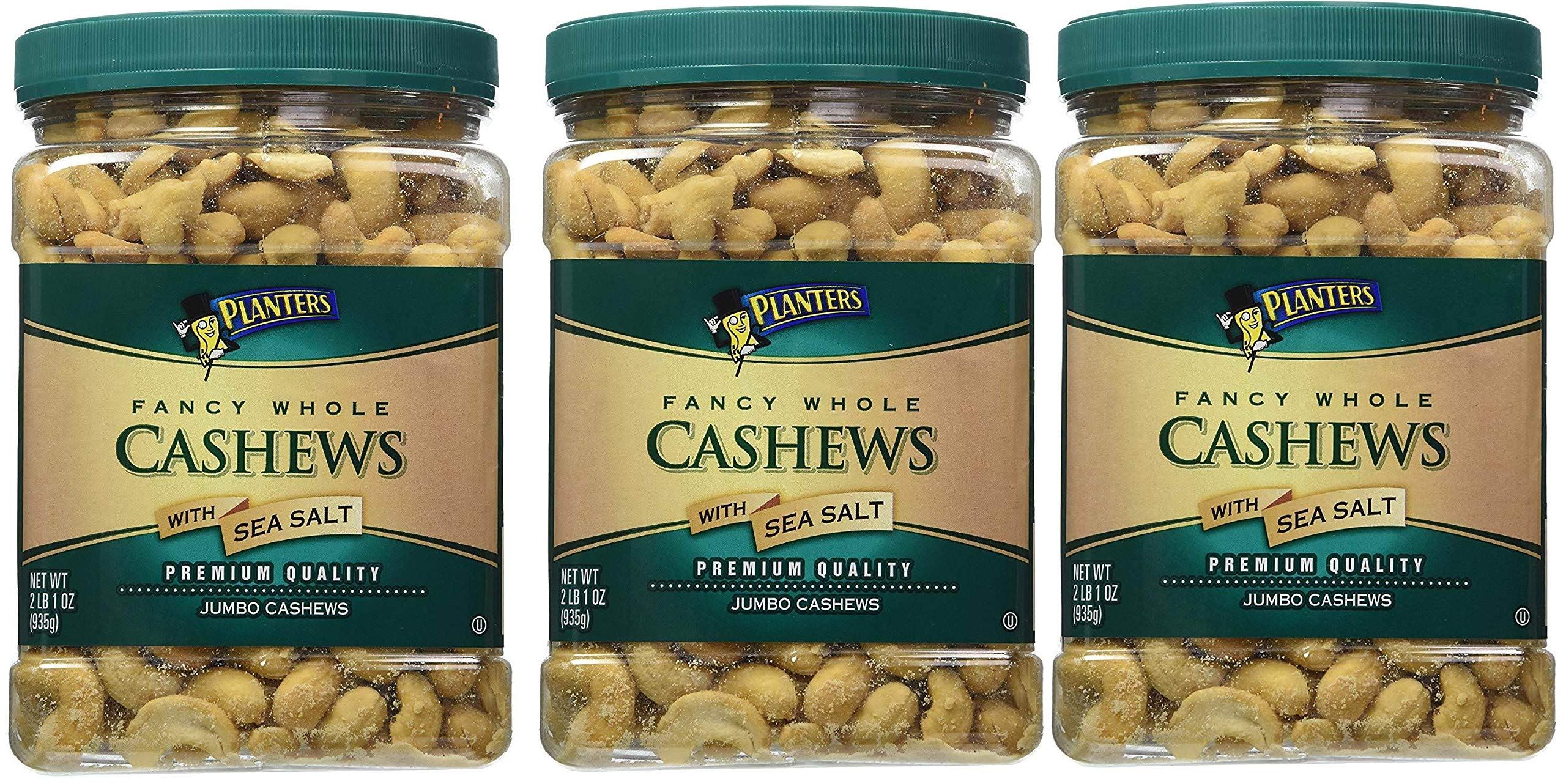 Planters Fancy Whole Cashews, Salted, 33 Ounce, 3 Tubs