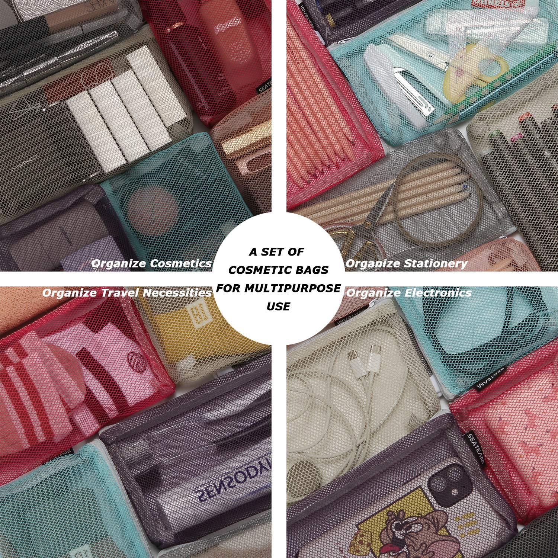 Sea Team 6 pi/èces Trousse de Toilette de Voyage Portable Multicolore Sac de Rangement de Maquillage cosm/étique en Filet en Nylon avec Fermeture /à glissi/ère