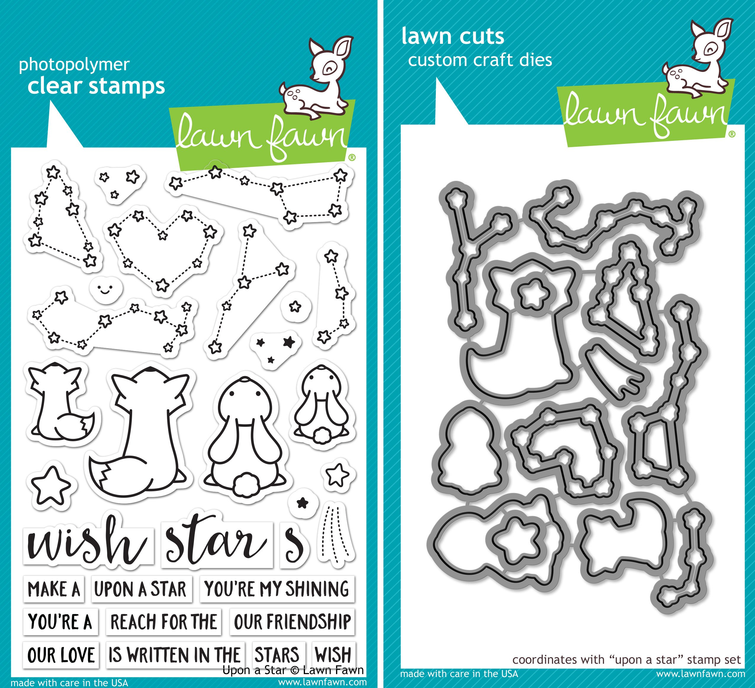 Lawn Fawn Upon a Star Stamp and Die Set - Two item Bundle