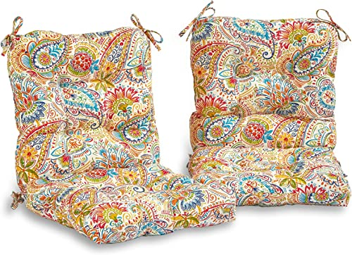 South Pine Porch AM6815S2-JAMBOREE Jamboree Paisley Outdoor Seat Back Chair Cushion, Set of 2