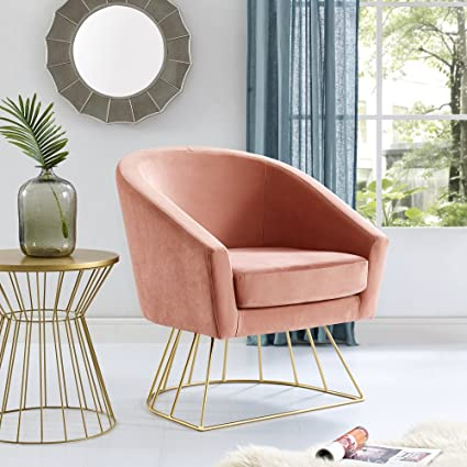 Bon Adalene Blush Velvet Accent Chair   Gold Metal Base | Barrel Shaped Back |  Upholstered Button