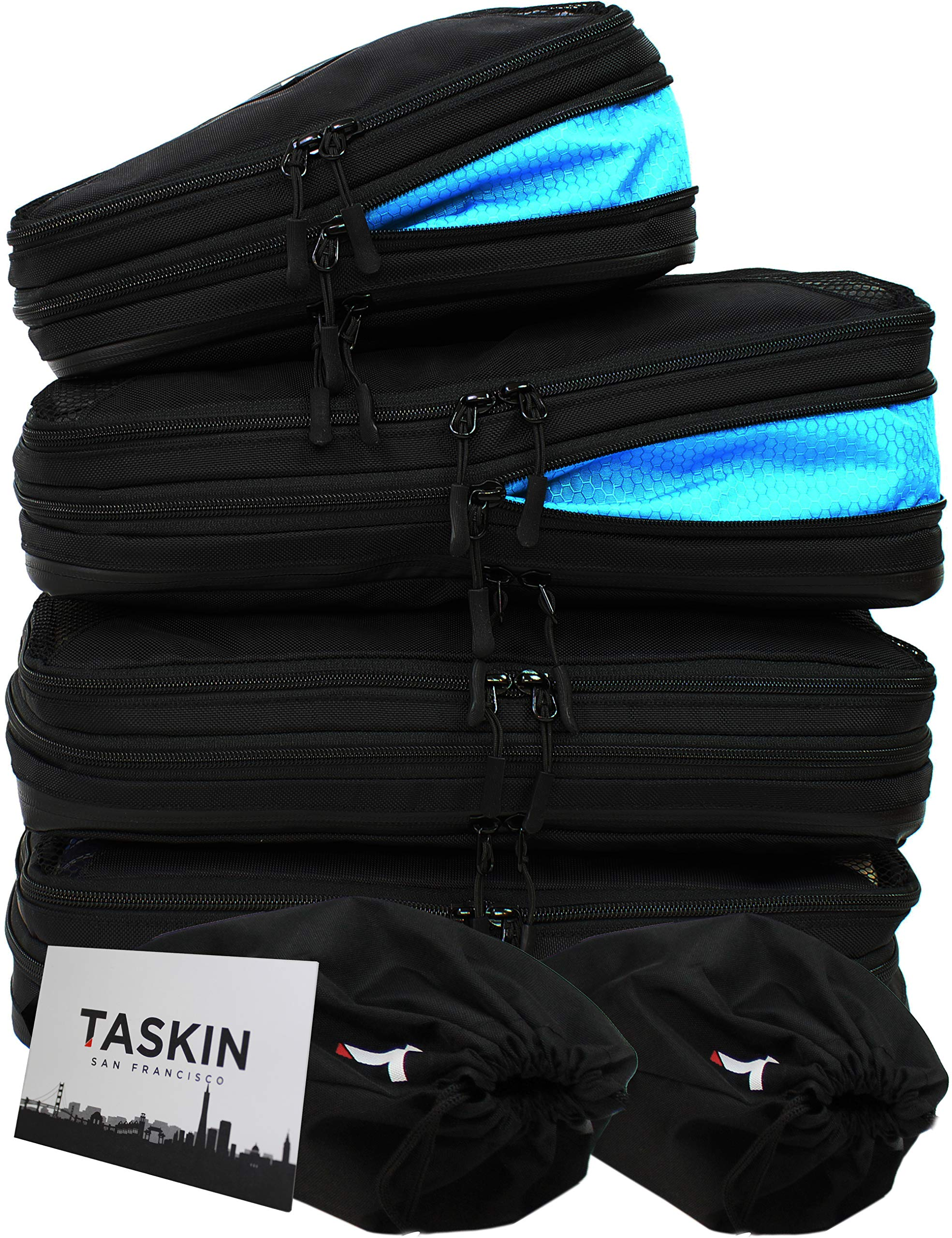 Compression Packing Cubes w/Clean/Dirty Compartments Set of 3 Large + 1 Small + 2 Shoe Bags - 6 Piece Set