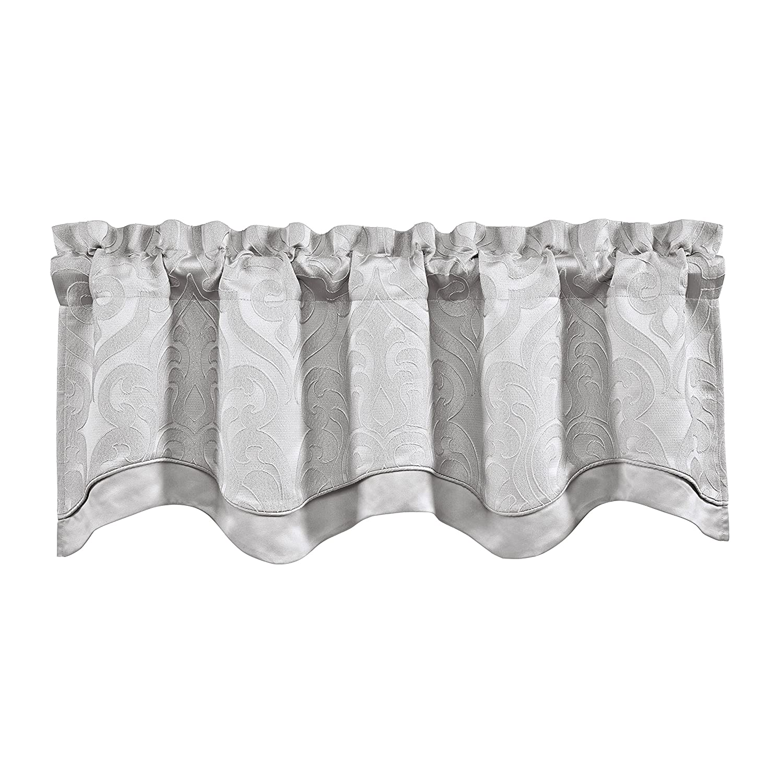 Five Queens Court San Juan Dual Layer Woven Jacquard Luxury Scallop Window Valance Straight White 23420202LSCV