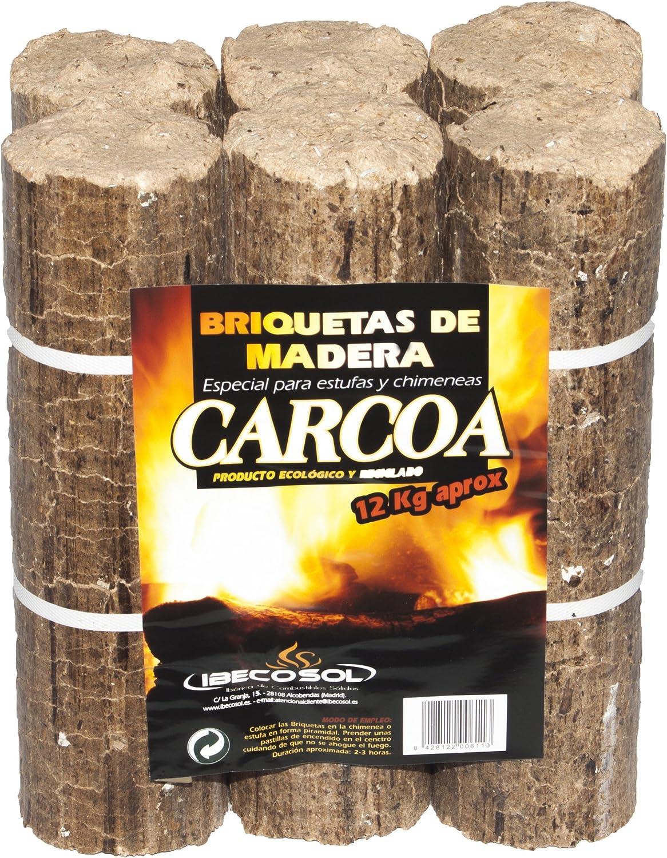 Carcoa Chimenea 0611 Briqueta de Madera 12 kg, Marrón, 30x18x27 cm ...