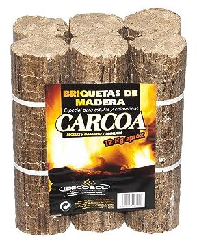 Carcoa Chimenea 0611 - Briqueta de Madera, 12 kg, Color marrón: Amazon.es: Jardín