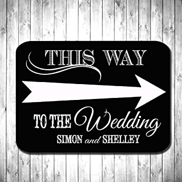 personalised wooden wedding sign vintage this way to the wedding direction sign