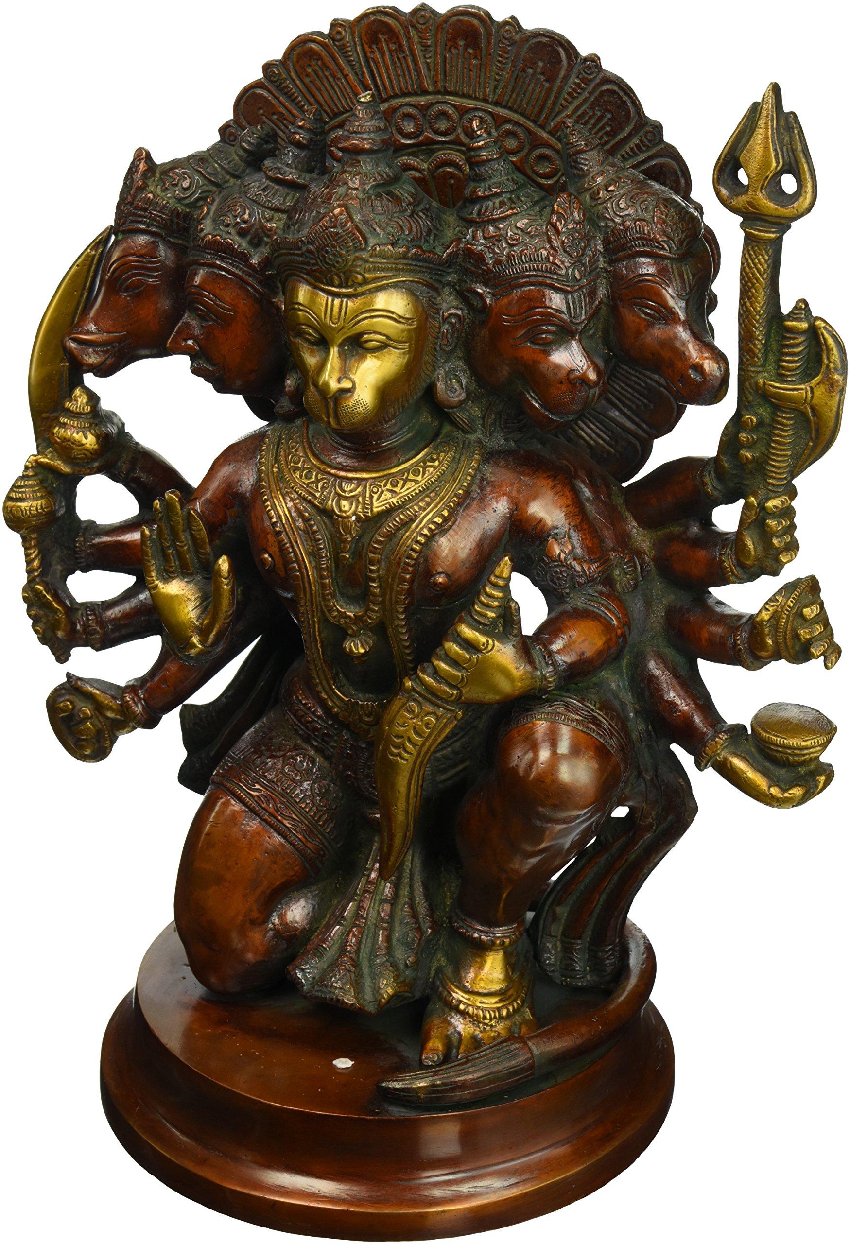 Aone India 11'' Unique Five Face Hanuman Statue - Big Hindu God Brass Monkey Lord Idol Sculpture Figurine - Strength Figure - Bajrang Bali Religious Deity + Cash Envelope (Pack Of 10)