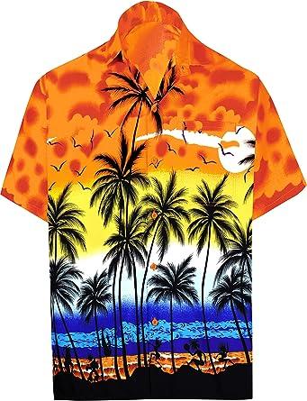 LA LEELA Casual Hawaiana Camisa para Hombre Señores Manga Corta Bolsillo Delantero Surf Palmeras Caballeros Playa Aloha 4XL-:162-167 Calabaza Naranja_A669: Amazon.es: Ropa y accesorios