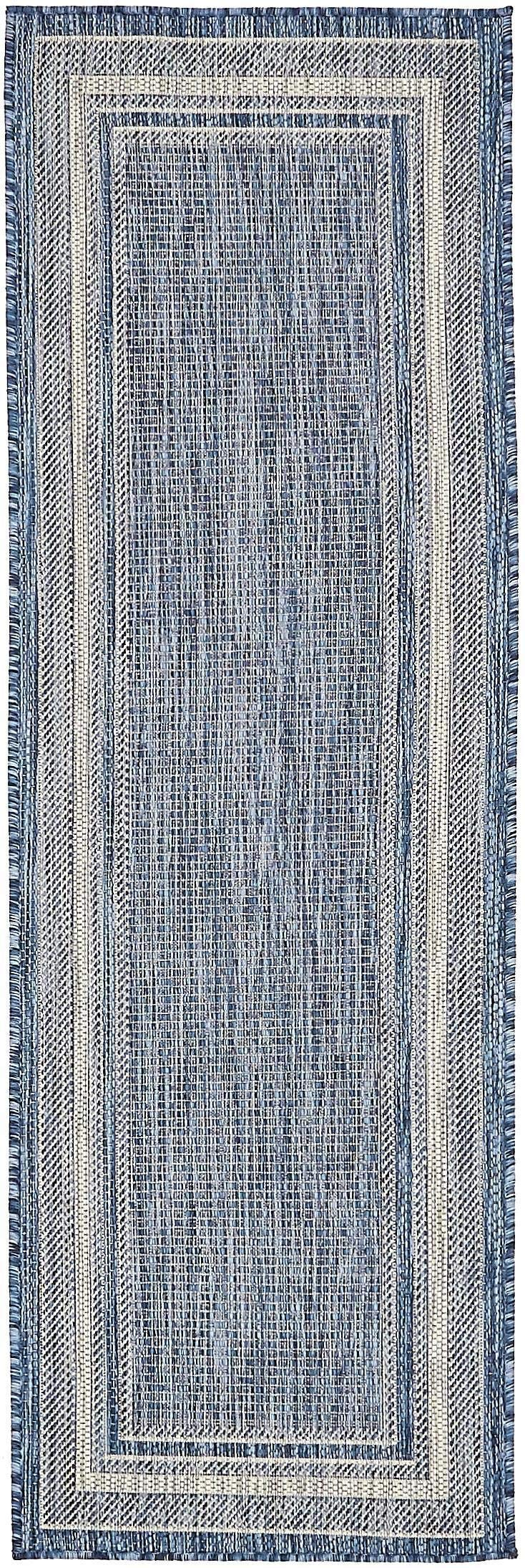 Unique Loom Outdoor Collection Casual Solid Border Indoor and Outdoor Transitional Blue Runner Rug (2' x 6')