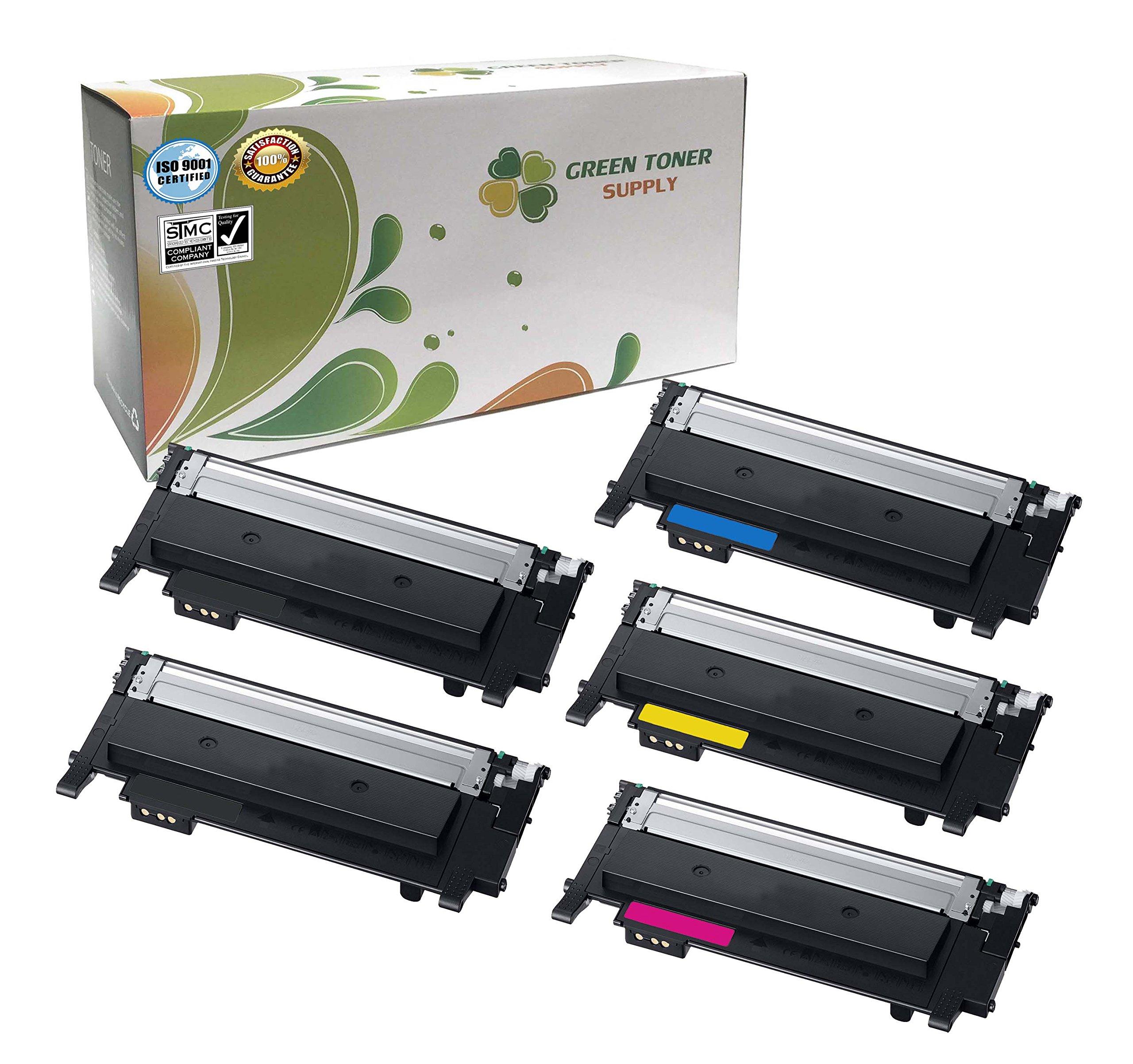Green Toner Supply (TM) New Compatible [Samsung CLT-K404S,CLT-C404S,CLT-Y404S,CLT-M404S] 5 Color LaserJet Toner Cartridges for Samsung Xpress C430,C430W,C480,C480W
