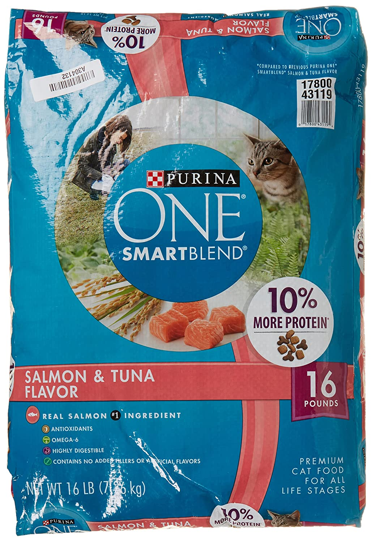 Purina O.N.E. Cat Food Adult Total Nutrition Salmon & Tuna, 16 lb