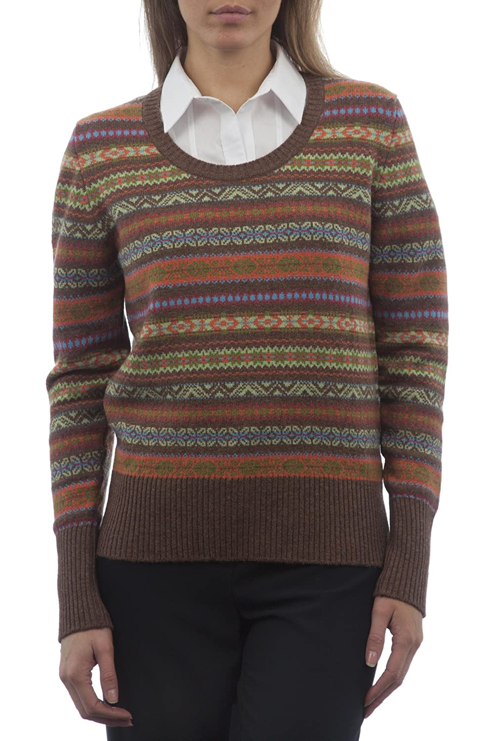 Hawick Knitwear Ladies' 100% Lambswool Scoop Neck Fairisle Sweater ...